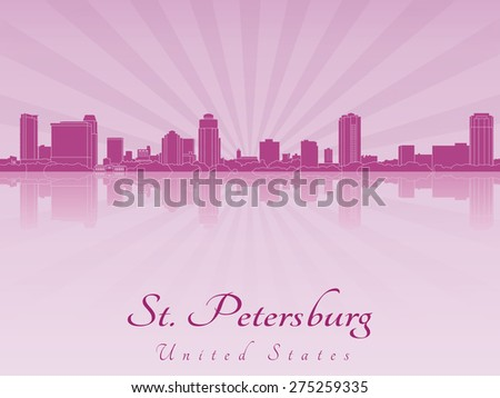 St Petersburg skyline in purple radiant orchid in editable vector file - stock vector