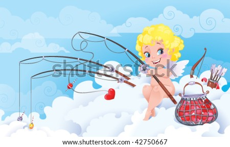St.Valentine cartoon with funny Cupid - stock vector