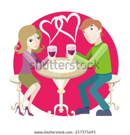 St Valentine concept. Young happy amorous couple with glasses of red wine on romantic date at restaurant. - stock vector