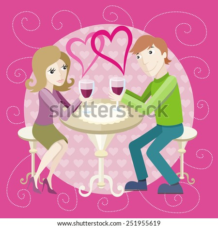 St Valentine concept. Young happy amorous couple with glasses of redwine on romantic date at restaurant. - stock vector