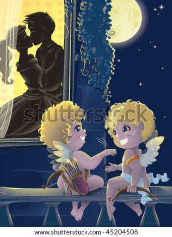 St.Valentine day. Cartoon with Cupids - stock vector