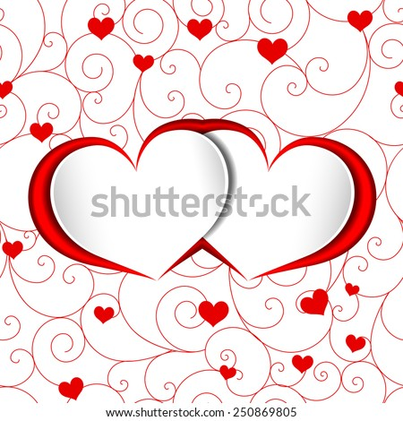 St Valentine Heart Shape Red Love Background - stock vector