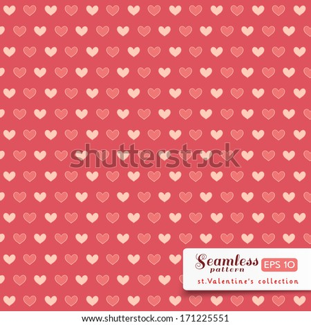 St. Valentine hearts. Simply seamless vector background. White and pink on pink color.