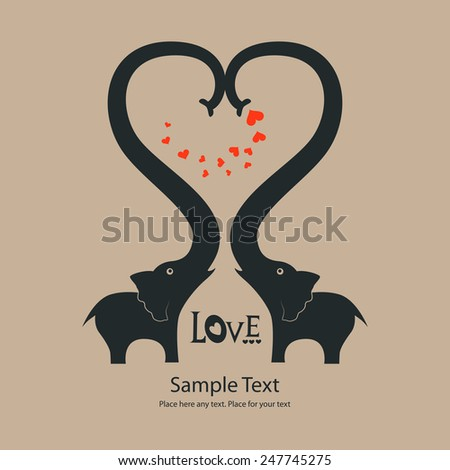 St. Valentine's day greeting card with elephants - stock vector