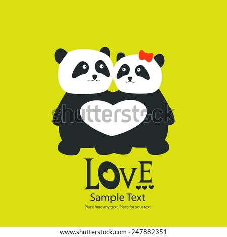 St. Valentine's day greeting card with panda bears - stock vector