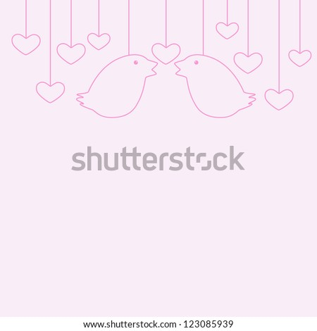 St Valentine's Day greeting card with two hanging birds and several hanging hearts - stock vector