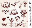 St. Valentine's Day icon set - stock vector
