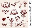 St. Valentine's Day icon set - stock vector