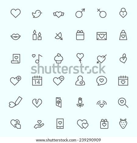 St. Valentine's Day icons, simple and thin line design - stock vector