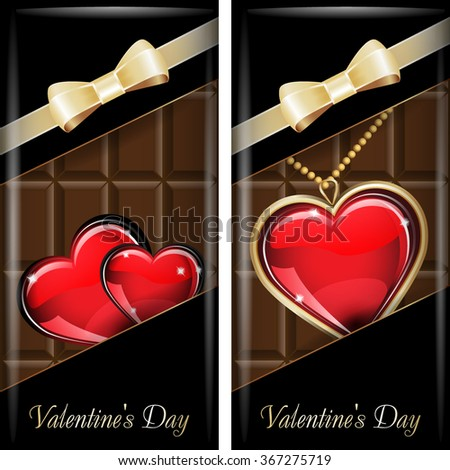 St. Valentine's Day. Set of black ornate label with gold ribbon and gold bow for dark chocolate. Grouped for easy editing.  - stock vector