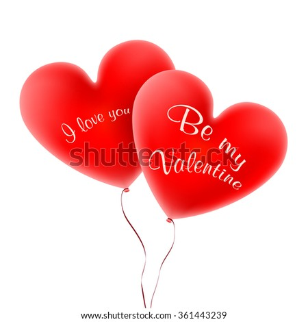 St. Valentine's Day. Vector. Balloons of red heart-shaped isolated on white background. Two red hearts on a white background. - stock vector