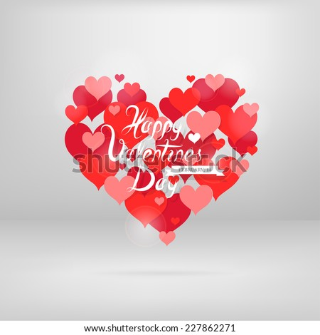 St. Valentines greeting card design with heart shape shaped from plenty of hearts - stock vector