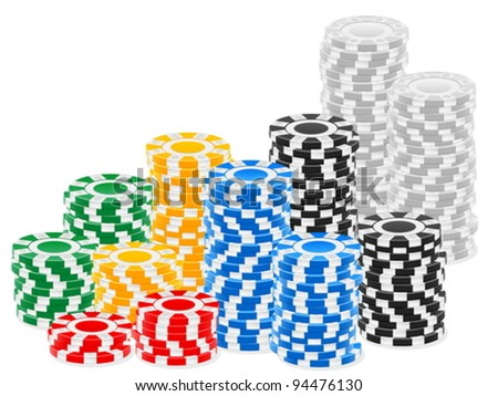 Stack chips on a white background. Vector illustration.