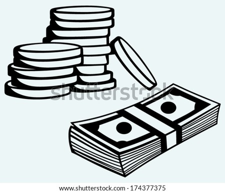 Stack dollars banknotes and coins isolated on blue background - stock vector