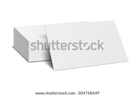 Stack of blank business card on white background with soft shadows. Vector illustration. EPS10. - stock vector