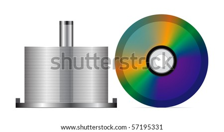 Stack of blank CDs, isolated on white background