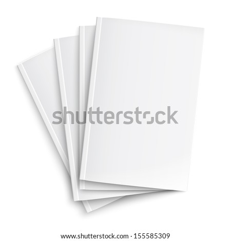 Stack of blank magazines template. on white background with soft shadows. Ready for your design. Vector illustration. EPS10. - stock vector