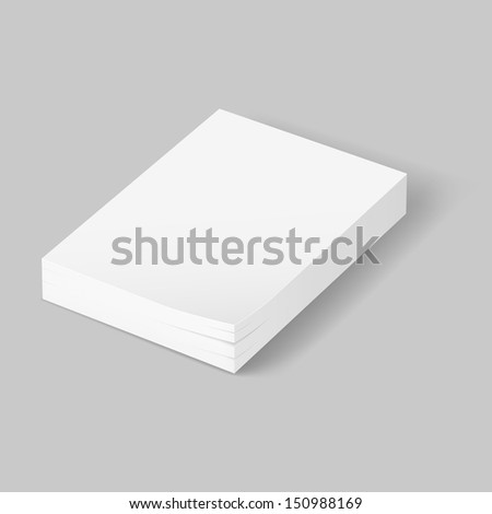 Stack of blank papers. Illustration on grey background - stock vector
