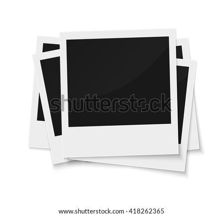 Stack of blank vintage paper photo frames from instant camera with shadow isolated on white for images. realistic vector illustration of photoframe with space for images and photos. Photo frame vector - stock vector
