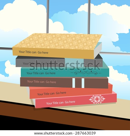 Stack of book sitting on a window sill  - clouds behind  - stock vector