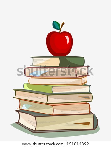 stack of books and red apple isolated on white background, education concept - stock vector
