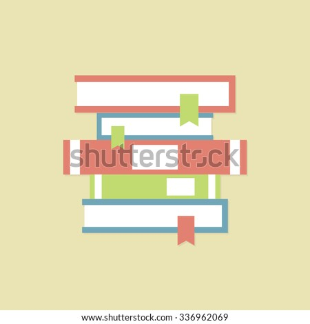 Stack of books. Bookcase. Bright spines of books. School library. Studying at home. - stock vector