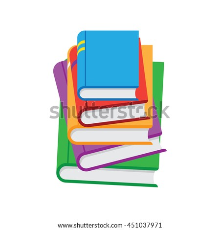 Stack of books vector illustration. Flat style. - stock vector