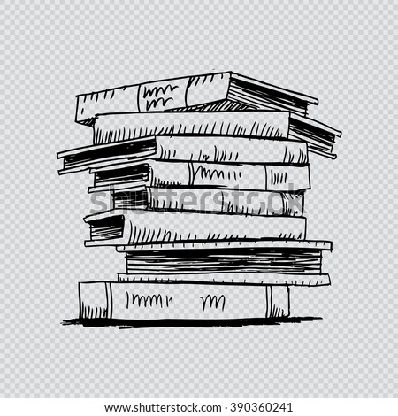 stack of books with hand drawing style