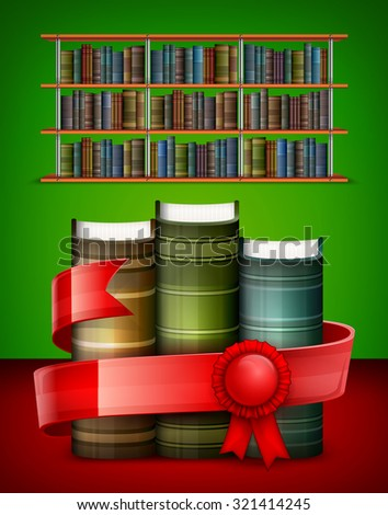 Stack of books with red ribbon in library, vector illustration - stock vector