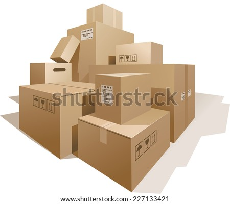 Stack of boxes isolated on white. Eps8. CMYK. Organized by layers. Global colors. Gradients used. - stock vector