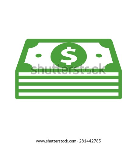 Stack of cash line art icon for apps and websites - stock vector