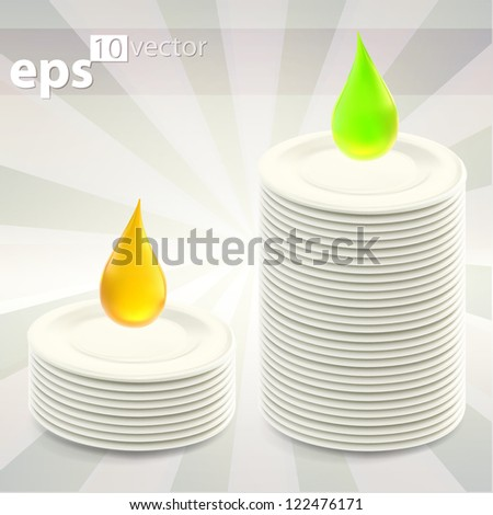 Stack of clean washed plates as comparison of two dishwashing liquids, eps10 vector illustration - stock vector