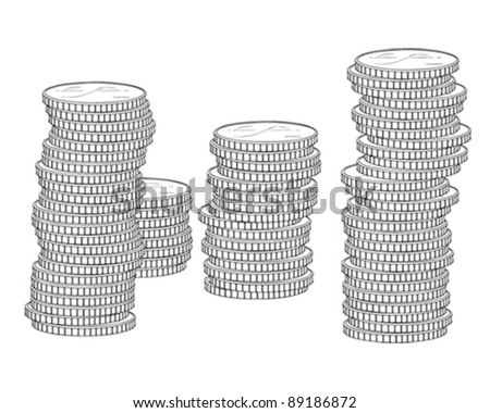 Stack of Coins Vector Stack of Coin Dollar