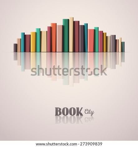 Stack of color books, book city, eps 10 - stock vector