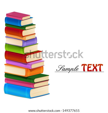Stack of colorful books. - stock vector