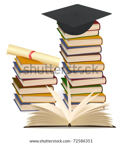 Stack of colorful books and graduation cap . Vector illustration. - stock vector
