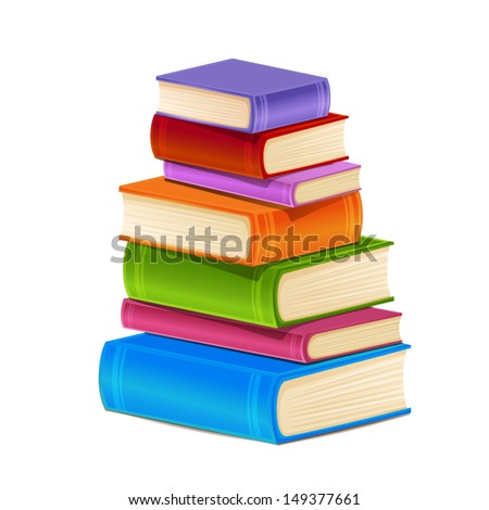 Stack of colorful books isolated on white - stock vector