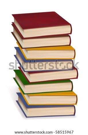 Stack of colorful books on white background. Vector.