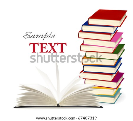 Stack of colorful books. Vector illustration. - stock vector