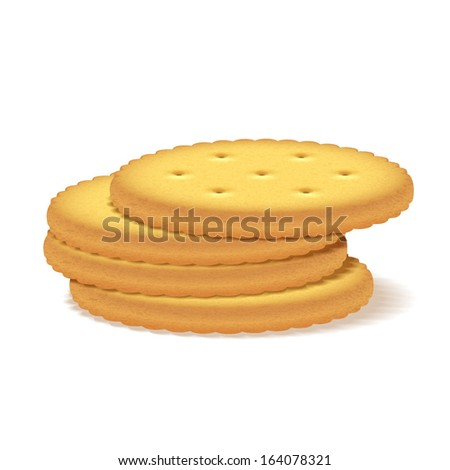 Stack of crackers on white background. - stock vector