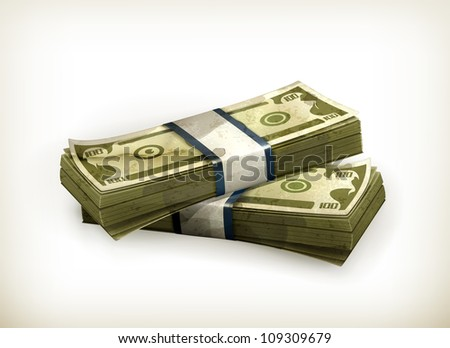 Stack of Dollars, old-style vector isolated - stock vector