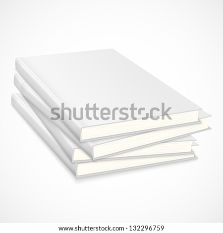 Stack of empty books with white cover. Vector illustration - stock vector