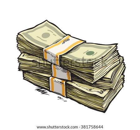 stack money dollar bills hand drawn stock vector 381758644 rh shutterstock com Paper Money Clip Art Money Graphics
