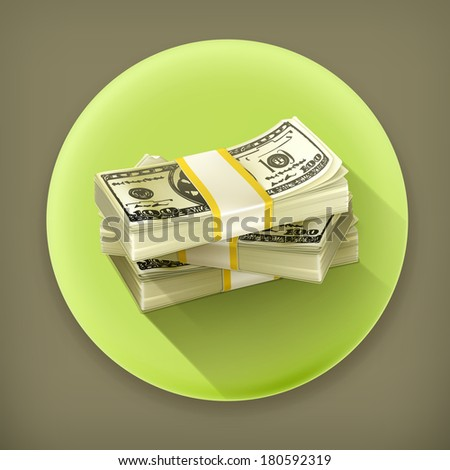 Stack of money long shadow vector icon - stock vector