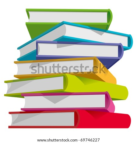 Stack of Multicolor Books on White Background. Vector Illustration - stock vector