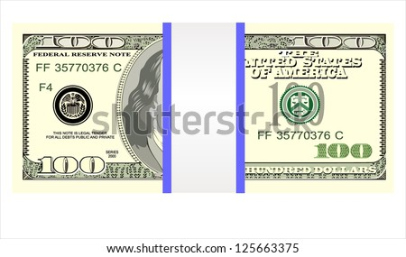 Stack of one hundred dollar bills, isolated on white. - stock vector