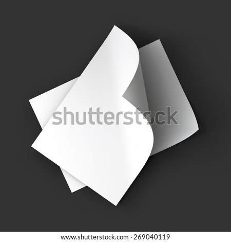 Stack of pages with curved corners. Top view. Business mockup template. Presentation of your branding and identity design. Vector Illustration EPS10. - stock vector