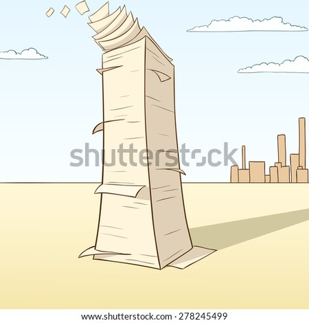 Stack of paper flying away on desert landscape background. Vector illustration. - stock vector