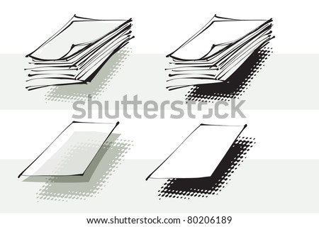 stack of paper, sheet of paper, objects - stock vector
