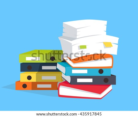 Stack of papers on blue background, flat and drop shadow theme. Vector illustration